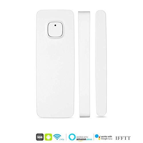 intelligente rivelatore di sensori magnetici per porte e finestre funziona con Alexa Google Home IFTTT controllato da telefono Tablet iPhone per sistema di allarme antifurto di casa (1 confezione)