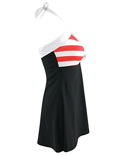 Costumi Da Bagno Donna Trikini Strisce Costumi Interi Capestro Push Up Beachwear Piscina Bikini Rosso Bianco Blu