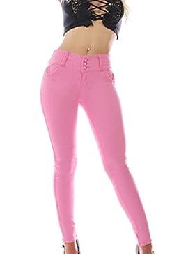 FARINA 1727 Pantalon vaquero jeans Rosa de mujer, Push up/Levanta cola, pantalones elasticos colombian,color rosa...