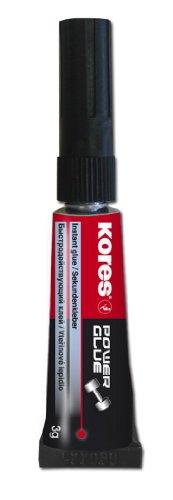 Kores Colle instantanée Power Glue, pointe fine, liquide, 3 G, Transparent