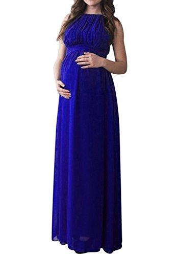 NINGSANJIN Femmes enceintes sans manches robe enceinte photographie accessoires occasionnels Boho longue robe (2XL, Bleu)