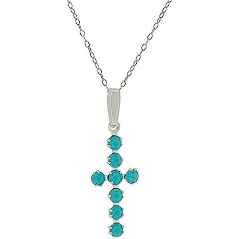 S., colore: blu/verde, in argento sterling, con pendente a croce, in cristallo Swarovski, montato su catenina di TOC - Croce Ab Cristallo