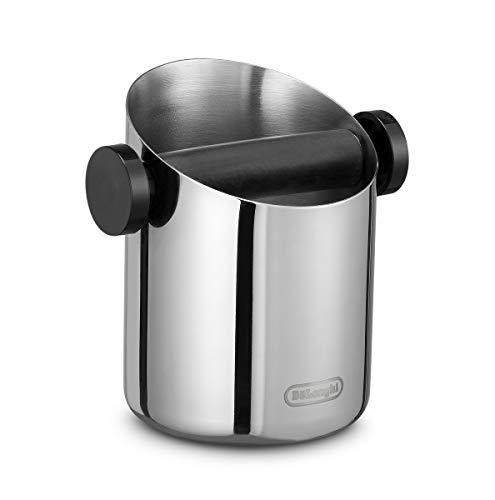 De'Longhi DLSC059 Abschlagbehälter, für Espresso Siebträger, Kaffeesatz Abschlagbox, Kaffeemaschinen Zubehör für den Barista Zuhause, Abklopfbehälter aus Edelstahl - Espresso Zubehör