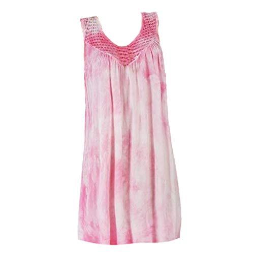 Fuibo Damen Tank Top Sommer Cool lässiges ärmelloses Große Größe Casual Lace Splice Print Täglich Ärmellose Weste Tops Hemdbluse (XL, Pink) -