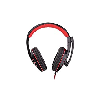 VANSENG Headset Musik Gaming-Kopfhörer für PC mit kabelgebundener Fernbedienung Mikrofon mit niedrigem Sprachband (rot)