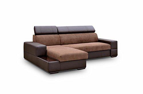 Ecksofa Sofa Eckcouch Couch mit Schlaffunktion und Bettkasten Ottomane L-Form Schlafsofa Bettsofa Polstergarnitur - CAPRI (Ecksofa Links, Braun)