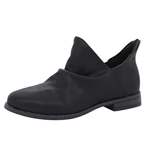 Botines Mujer Invierno Vintage Zapatos Tacón Bajo