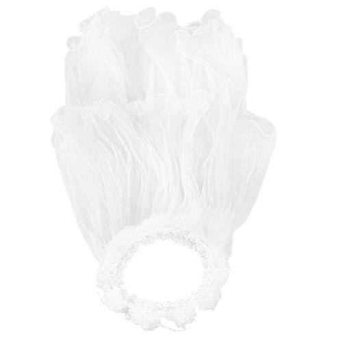 Chenpaif bambini ragazze principessa hairband 75 centimetri doppi strati tulle veli fiori ghirlanda increspature pizzo floreale corona fascia perline catena di colore solido per feste bianco