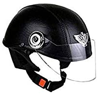 TRYFLY All Purpose Safety Helmet with Strap (Leather black, Free Size)