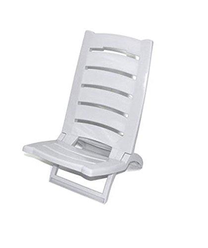 Vetrineinrete® spiaggina da mare bassa sedia pieghevole richiudibile portatile da spiaggia piscina campeggio in plastica 60 x 37 cm (bianca) x