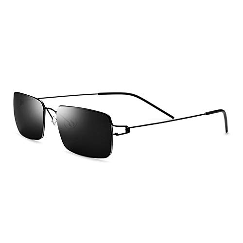WULE-Sunglasses Unisex New Screwless Ultraleicht Sonnenbrille Herren Driving Driving Brille Titan Alloy Square Sonnenbrille Weiblich Schwarz Rand Grau Objektiv UV400 Schutz