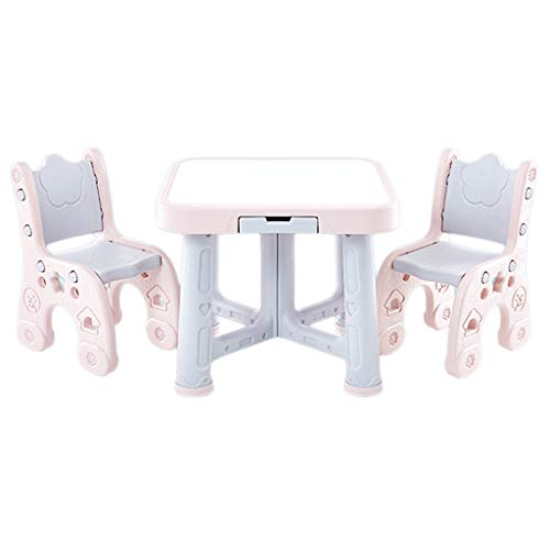 Tische & Stühle Kindertisch Kindergarten 1 Tisch 2 Stühle Home Multifunktions Studie Tisch Plastiktisch Und Stuhl Gesetzt Faltbar (Color : Pink, Size : 63 * 63 * 51cm)