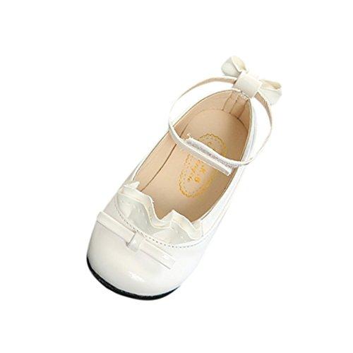 Mode Prinzessin Schuhe Kleinkind Kinder, DoraMe Baby Mädchen Sneaker Bogen Spitze Weichen Boden Tanzschuhe Einzelne Schuhe Lederschuhe für 2.5-8.5 Jahr (3.5-4 Jahr/Size(CN):25, Weiß)