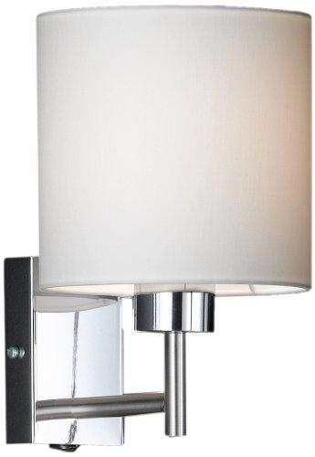 Wandleuchte Chrom Kerze (Honsel Leuchten 36161 Wandleuchte mattnickel/chrom Schirm weiß)