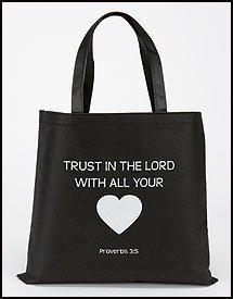 Trust In the Lord With all Your Heart Tote Non-Woven Reycled Nylon Bag Great Gift Ideas for Sunday School Teachers and Youth by Autom