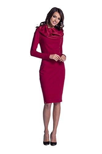 Lemoniade Trendiges Kleid mit Langen Ärmeln und Kurzem Rock (M (38), Modell 2 Karminrot)