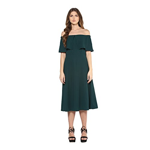 Femella Fashion's Green Off Shoulder Midi Dress(DS-2244195-1461-GRN-M)