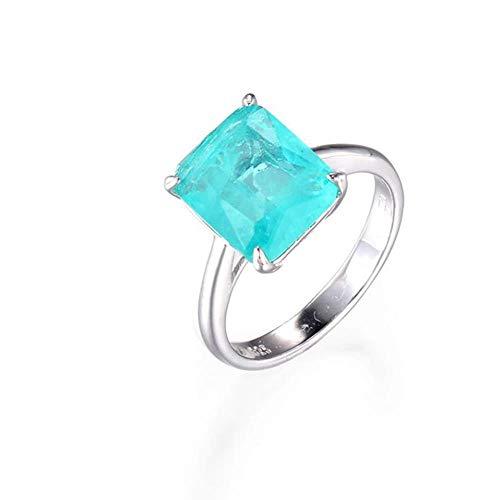 OLGN Ringe Für 925 Silber Ring Quadrat Rubin Und Smaragd Ring Hochzeit Verlobungsring Damen Edlen Schmuck 9 (Kostüm Schmuck Ring Einstellungen)