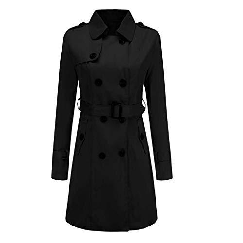 ➤Refill➤ Damen Mantel Trenchcoat mit Gürtel Wintermantel Übergangs Jacke Parka Lang Winterparka Outwear Gefüttertjacke Pilotenjacke Bikerjacke