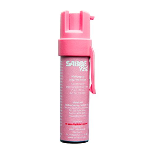 SabreRed Tierabwehr-Spray (Pfeffer-Spray) in Pink mit Trageclip und UV-Marker Verteidigungs-Spray in den USA - kompaktes Design mit großem Schutz, 35 Sprühstöße mit bis zu 3m Reichweite