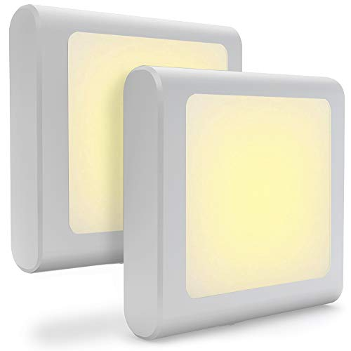 Steckdose LED Nachtlicht mit Dämmerungssensor, Warmweiß Nachtlichter für Mitternacht Bequemlichkeit, Schlafzimmer, Kinderzimmer, Küche, Flur, 2 Stück