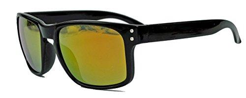 Sportliche Herren Sonnenbrille Flat Top Wrap Style Sportbrille verspiegelt oder getönt HB13 (Schwarz/Gold verspiegelt)