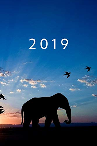 2019: ENE - DIC Agenda Semanal | 152 x 229 mm | 1 Semana en 2 Páginas | 52 Semanas Planificador y Calendario | Elefante