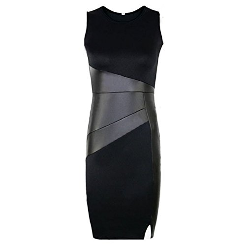 Bocideal Frauen der Dame-Leather Splice-Abend-Partei-Kleid (S)
