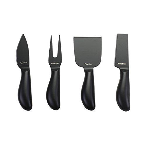 Finether-Colección de Cuchillos para Queso (4 Piezas, Acero Inoxidable, Antiadherente Recubierto, Conveniente) Negro