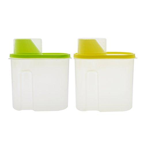 Müsli Container mit ausgießmulde und Messbecher Kunststoff transparent Food Saver luftdicht Wasserdicht Müsli Keeper Frischhaltedosen für Reis Getreide Müsli Oatmeal Zucker Muttern Bohnen, 2.5l