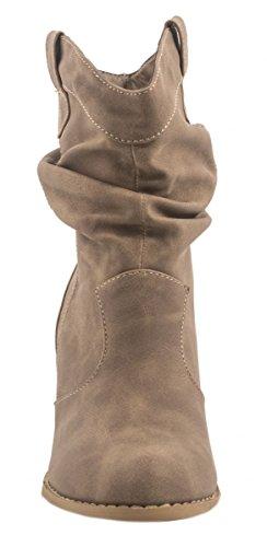 Elara Donna Ankle Boots | alla moda Cowboy Boots | effetto pelle stivaletti cachi