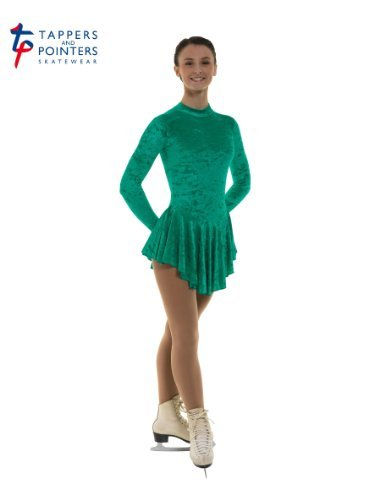 Velvet Ice Skating (Tappers & Pointers Girls Crushed Velvet Ice Skating Dress (JADE, 9-10 YEARS) by Tappers & Pointers)