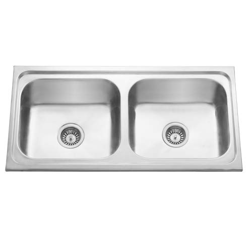 "CROCODILE ® 304 Grade Stainless Steel Double Bowl Kitchen Sink (37"" x 18"" x 8"") HI Gloss Finish"