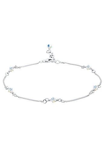 Elli Damen Echtschmuck Fußschmuck Fußbändchen mit Swarovski Kristallen in 925 Sterling Silber Länge 25 cm