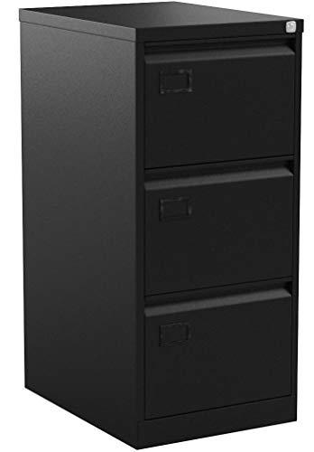 Office Hippo Bisley 3-Drawer Filing Cabinet – Black