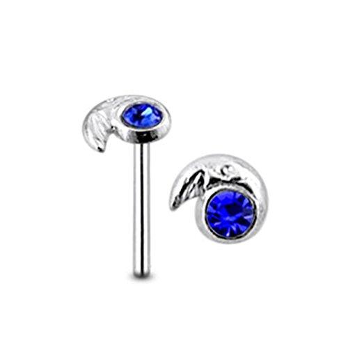 Mond dunkel blau Crystal Stein Top 22 Gauge 925 Sterling Silber gerade Nase Stud Piercing