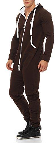 Jumpsuit Onesie Jogger Einteiler Overall Jogging Anzug Trainingsanzug Slim Fit,braun,XXXX-Large ()