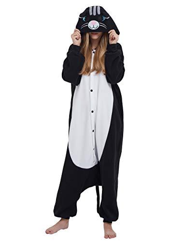 Katze Halloween Adult Kostüm - Jumpsuit Onesie Tier Karton Fasching Halloween Kostüm Lounge Sleepsuit Cosplay Overall Pyjama Schlafanzug Erwachsene Unisex Schwarz Katze for Höhe 140-187CM