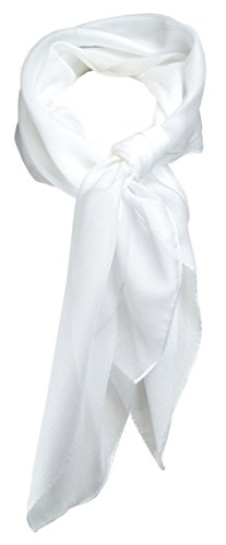 TigerTie Feines Damen Chiffon Nickituch in weiss einfarbig Uni - Größe 58 cm x 58 cm - Tuch Halstuch Schal - Chiffon Weiß