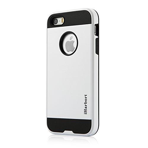 Coque iPhone 5 5S SE - iHarbort ® iPhone 5 5S SE case Housse étui double Protection de la couche avec brossé finition-Absorption des chocs en plastique [protection baisse] Combo Armure Defender Case h Blanc