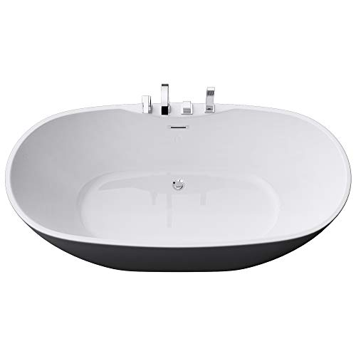 Sogood Freistehende Badewanne inkl. Armatur Vicenza605 170x80x60cm mit Ablaufgarnitur und Überlauf aus Acryl in Weiß DIN-Anschlüssen