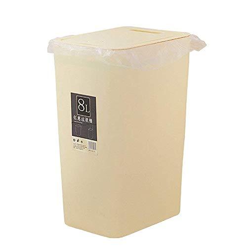 Baffect Beige Cuisine Bin, Poubelle Cuisine Poubelle Recyclage Poubelle Cuisine Poubelle avec Couvercle Poubelle Poubelle Poubelle Papier pour Cuisine Salle De Bains 8L (Beige)