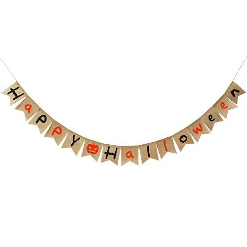Partyprops Happy Halloween Sackleinen-Banner, natürliche Jute, Halloween-Figur, rustikale Halloween-Dekoration, ()