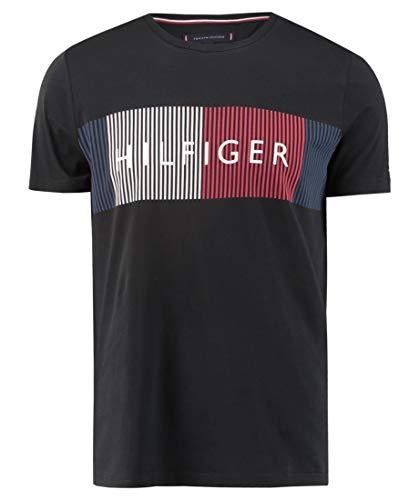 Tommy Hilfiger Herren T-Shirt Corp Merge schwarz (15) S (Hilfiger Shirt Schwarz Tommy)