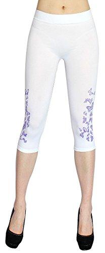 dy_mode Damen Capri Leggings 3/4 Leggings in Uni Farbe mit seitlichen Schmetterling Tattoo Damen Kurze Leggings in One Size - CLG018 (36/S, Weiß) Butterfly Capri-jeans