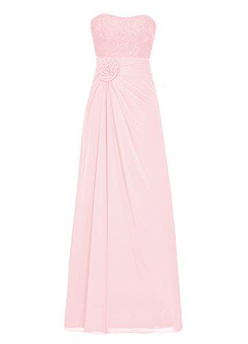 Dresstells Damen Abendkleider Bodenlang Strapless Homecoming Kleider Rosa