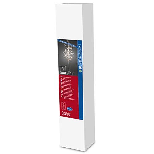 Konstsmide 3378-100 - albero di natale con luci led, misura: l, 150 cm, con 120 diodi rotondi a luce bianca calda, 24 v, cavo bianco