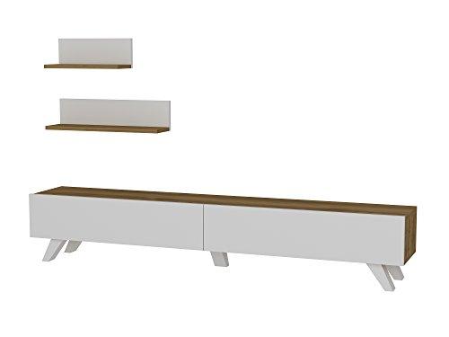 Alphamoebel TV Board Lowboard Fernsehtisch Fernsehschrank Sideboard, Fernseh Schrank Tisch für Wohnzimmer I Weiß Walnuss I Amerika 1667 I 180 x 29,5 x 32,6 cm -