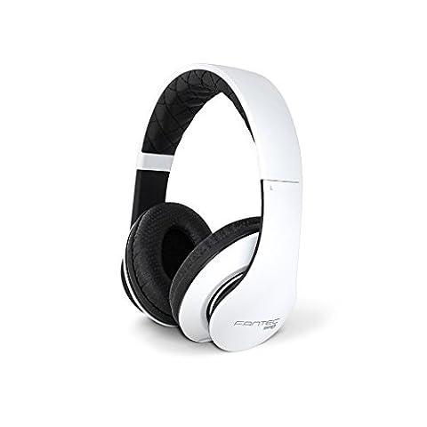 FANTEC SHP-3 On Ear Stereo Kopfhörer (Headset mit Freisprechfunktion ohraufliegend, integriertes Mikrofone, 1-Tasten Fernbedienung, geplosteter Bügel, atmungsaktive Ohrmuscheln, abnehmbares verwicklungsfreies Textilkabel, 3,5 mm Klinkenstecker)