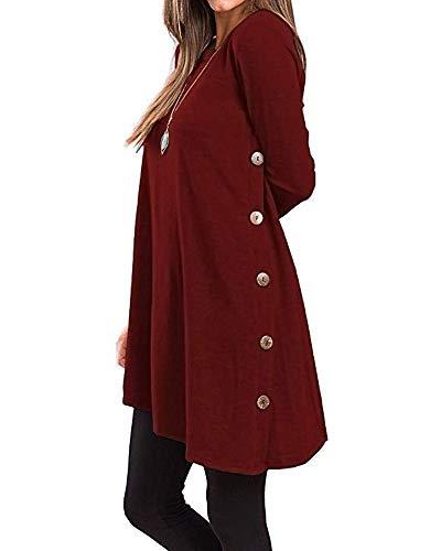 Weicher Pullover Kleid (Damen Seitliche Tasten Casual Langarm Rundhals Pullover Sweater Oblique Hem Tunika Kleid Weinrot L)